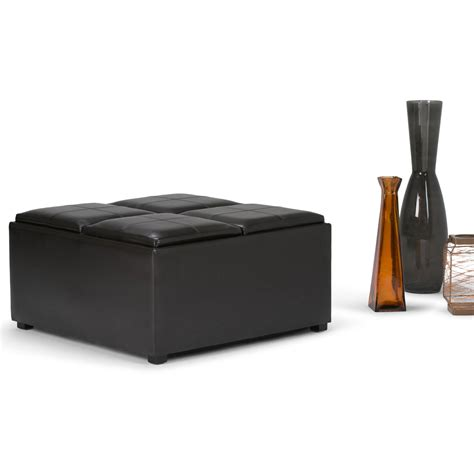 black faux leather ottoman storage bench faux leather folding storage ottoman large black bench
