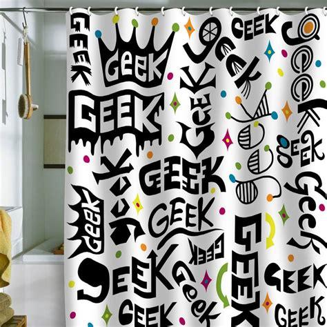 geeky shower curtain geek words shower curtain geek decor