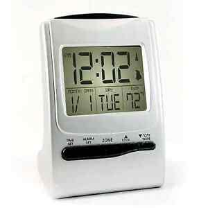 atomic travel alarm clock battery operated radio controlled f c temp backlit new ebay