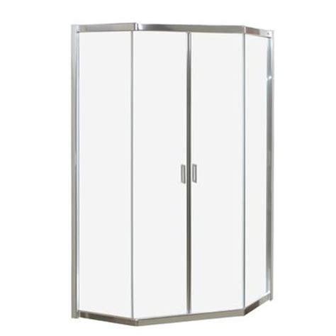 Keystone Shower Doors Keystone By Maax Intuition Neo Angle Frameless Clear Glass Corner Shower Door Home Depot