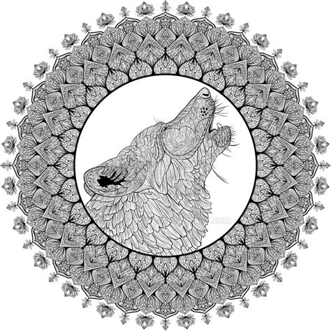 wolf mandala coloring pages howling wolf mandala by welshpixie on deviantart