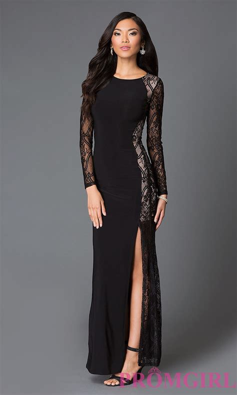 pic thigh highs on floor black sleeve floor length lace dress prom