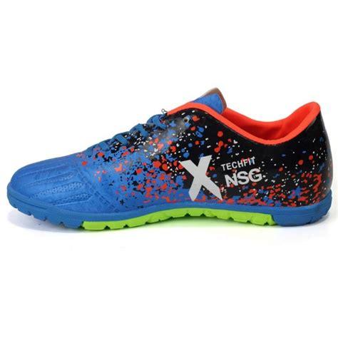 adidas blue black and orange x techfit nsg futsal shoes
