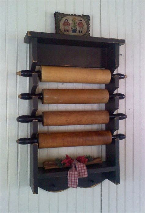 Pin Rack by Primitive Rolling Pin Rack With Pegs Wooden Country