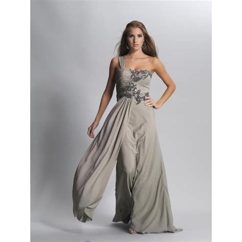Formal Korea Dress Gray 1 2014 classic floor length chiffon empire one shoulder grey prom evening formal dresses dave and