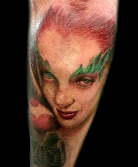 poison ivy tattoo poison batman portrait realism tattoos