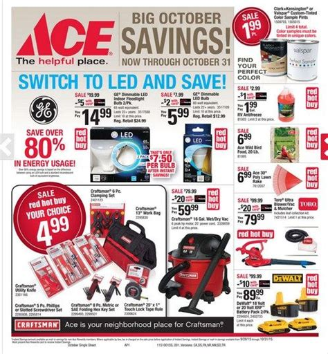 ace hardware flyer ace hardware ad october 2015 http www olcatalog com