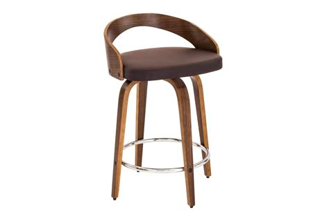 Lumisource Grotto Counter Stool by Grotto Counter Stool With Walnut Wood And Brown Bonded