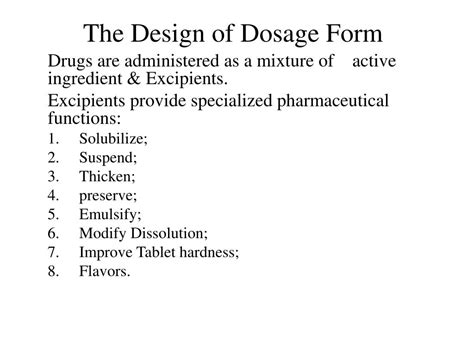 design dosage form ppt the design of dosage form powerpoint presentation