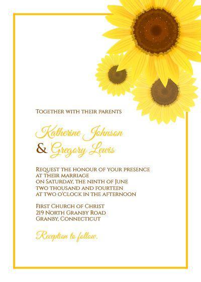 wedpics card template free pdf sunflower wedding invitation template