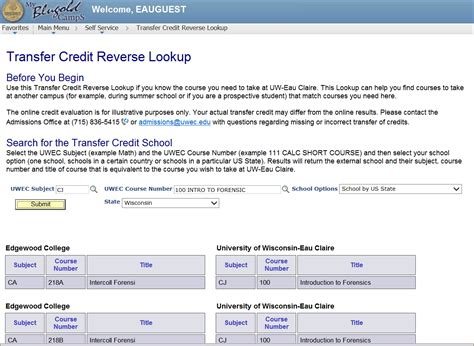 Reverses Lookup Transfer Credit Wizard Lookup