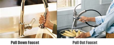 pull vs pull out kitchen faucets the difference and