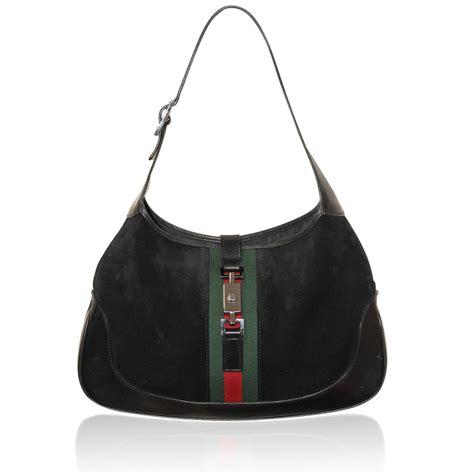 O Bags Leather gucci jackie o medium suede leather black green hobo shoulder bag
