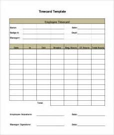 time card template 8 printable time card templates free word excel pdf