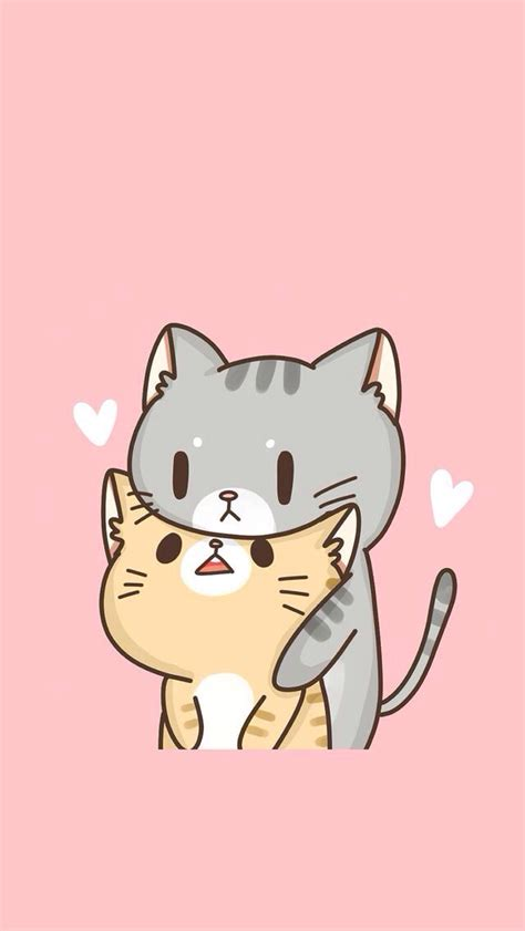 wallpaper cats kawaii drawn wallpaper cute anime cat pencil and in color drawn