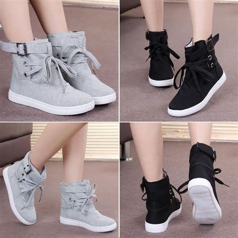 Sepatu Flat Grey Lace womens casual sneakers buckle hiking flats lace up