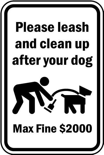 up after your signs leash and clean up after your sign f7578 by safetysign