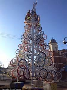 bicycle art christmas tree lismore locals joke that their tree looks like it s made using condoms daily mail
