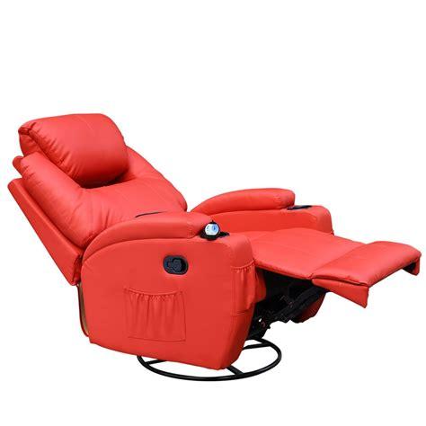 nursing recliner cinemo red leather recliner chair rocking massage swivel