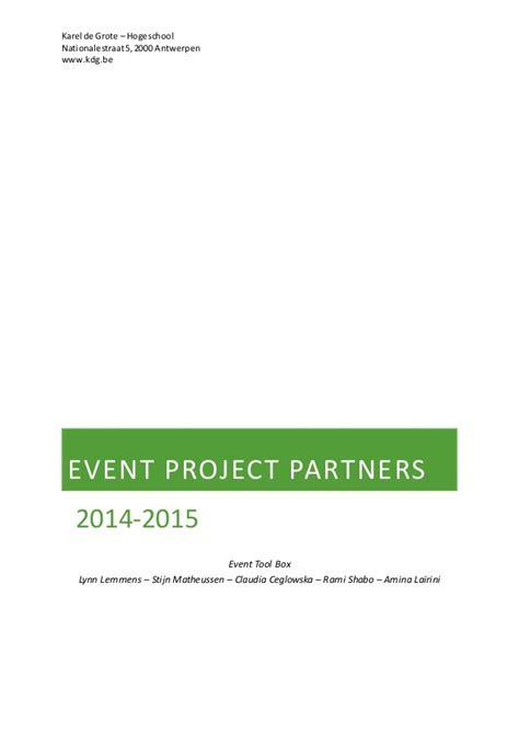 Minor Eventmanagement Draaiboek Bcc event toolbox 2015