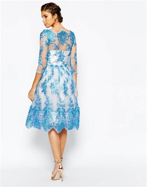 Premium Blue Lace Mid Slit Dress lyst chi chi premium lace midi prom dress with bardot neck and 3 4 sleeve in blue