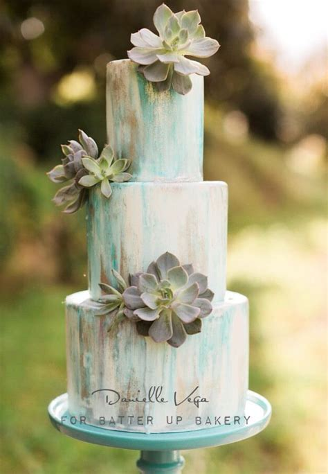 Water color cake with fresh succulents.   Recent Cakes