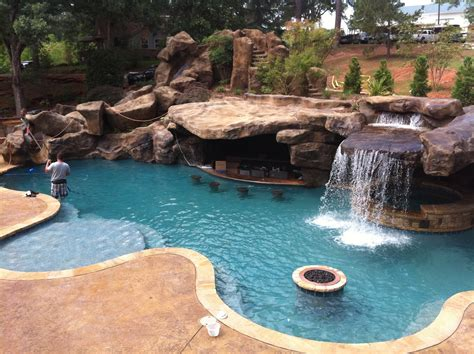 Pool Backyards by Backyard Oasis Pools Custom Pool Faux Rock Grotto 40