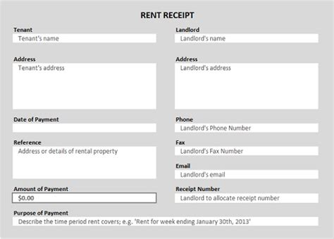 rent payment receipt template excel free printable receipt