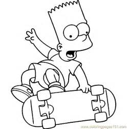 skate bart simpsons coloring pages simpsons cartoons gt simpsons free printable coloring