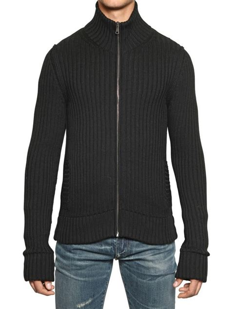 knitting pattern mens zip up cardigan dolce gabbana ribbed knit wool zip up cardigan in black