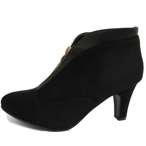 black zip up kitten low heel faux suede ankle boots