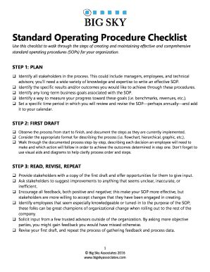 Standard Operating Procedure Checklist - Fill Online