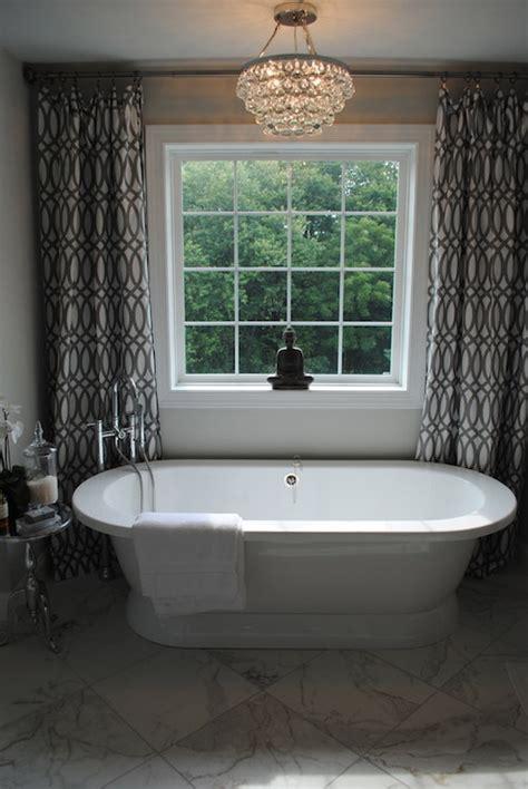 Bathroom Windows Tub Trellis Curtains Contemporary Bathroom Viscito