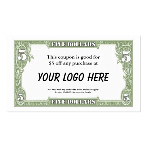 5 coupon card business card template zazzle