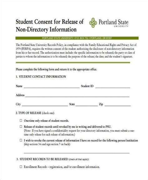 student permission form template consent form templates