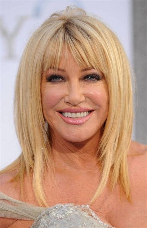 bangs for over 60 woman layered razor cut with blunt bangs for mature women over