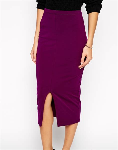 asos midi pencil skirt with split front in purple lyst