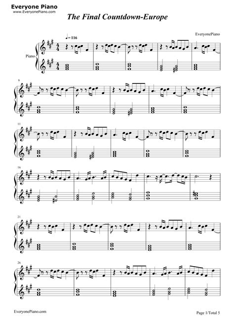 tutorial piano final countdown the final countdown europe stave preview 1 free piano