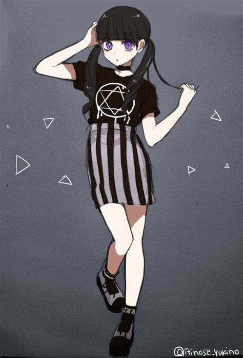 pin by mya on anime hair pinterest emo drawings and cute gothic anime girl emo pastel goth grunge drawing