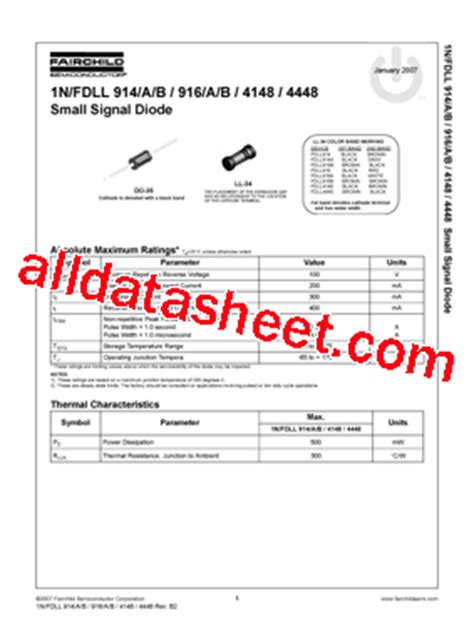4148 diode datasheet pdf 1n4148 데이터시트 pdf fairchild semiconductor