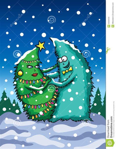 card  dancing christmas trees stock vector image