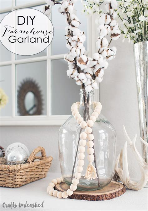 beaded home decor diy wood bead garland farmhouse style consumer crafts