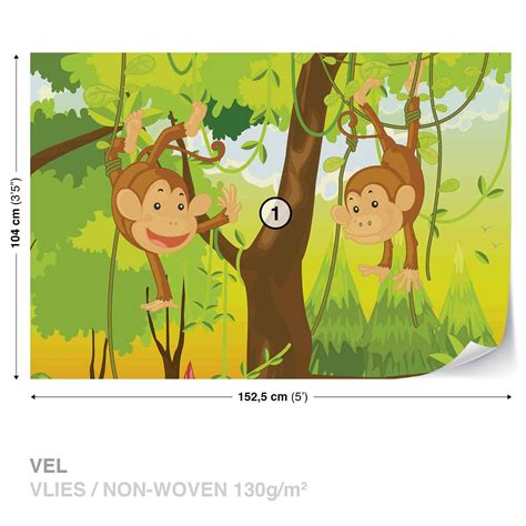 monkey wall murals wall mural jungle monkey photo wallpaper 1271dc ebay