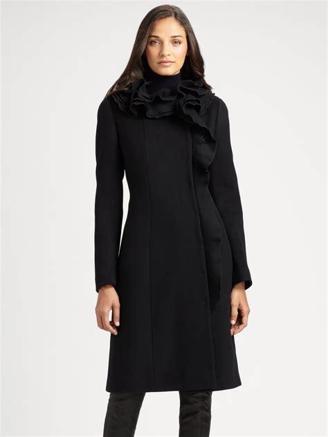 Elie Taharis Black Brushed Wool Patent Belt Coat Inspired By Poshs Fashion by Bergdorf Goodman