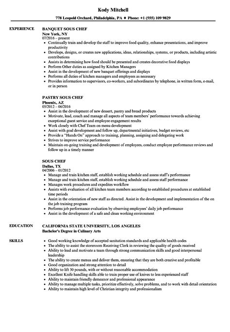 Sous Chef Resume by Sous Chef Resume Sles Velvet