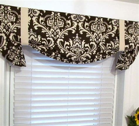 brown damask curtains brown damask tie up curtain valance handmade by