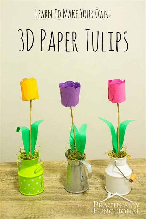 Paper Tulips - how to make paper flowers 3d paper tulips