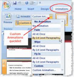 Custom animations quicklist in powerpoint 2007 169 wendy russell