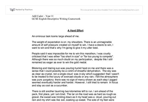 Running Is My Essay by Marathon Run Speaking And Listening Descriptive Writing Gcse Marked By Teachers