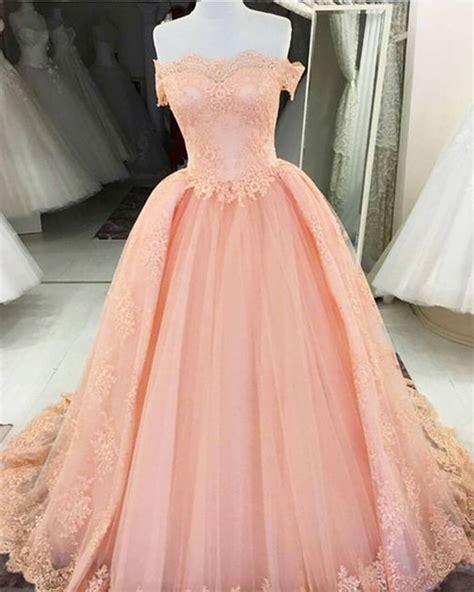 30618 Pink Sweet Offshoulder Dress princess pink tulle shoulder prom dress appliques pink evening dress qpromdress
